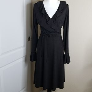 Express long sleeve faux wrap dress size 7/8